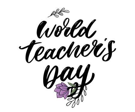 poster for world Teachers Day lettering calligraphy brush vector 向量圖像