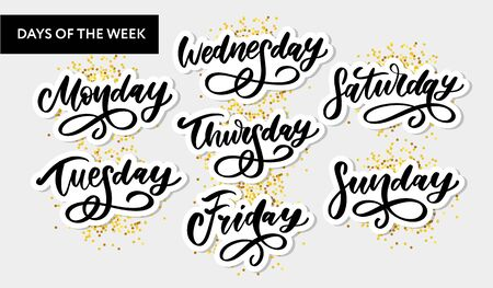 Vector handwritten week days and symbols set. Ink font. Stickers for planner and other. Clipart