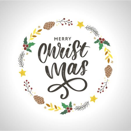 hand drawn ink Christmas wreath with bump, fir branches, Christmas decorations. design for adults, poster, print sketch