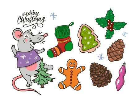 Merry Christmas traditional symbols in doodle style isolated on white background. Vector illustration of New Year attributes gingerbread Rat Christmas tree etc. Happy New Year sketches