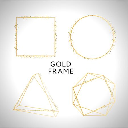 Gold frame decor isolated Vector shiny gold metallic gradient border pattern for your design. 向量圖像
