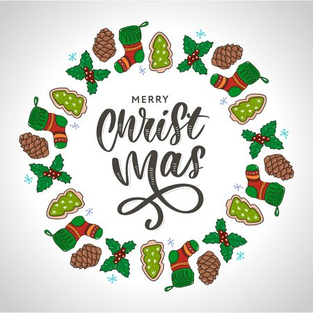 Trendy hand lettering with colorful Christmas holidays frame with traditional attributes in line style. Vector