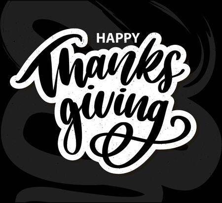 Happy thanksgiving brush hand lettering, isolated on white background. Calligraphy vector illustration. Can be used for holiday design.