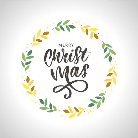 Christmas ornament wreath frame vector illustration set with red berries, green leaves, pine cone and cute Christmas ornaments.