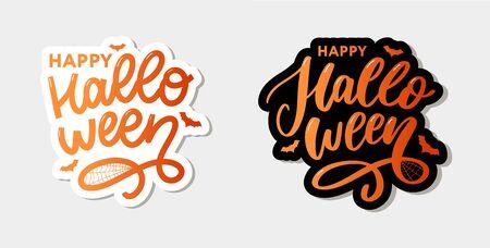 Happy Halloween Text Banner, Vector lettering calligraphy Çizim