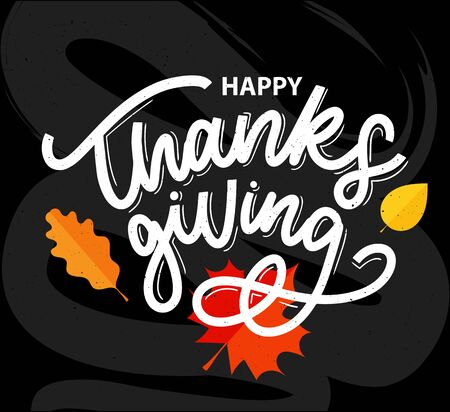 Happy thanksgiving brush hand lettering, isolated on white background. Calligraphy vector illustration. Can be used for holiday design