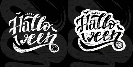 Happy Halloween lettering Calligraphy Brush Text Holiday Vector Sticker Illustration