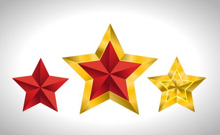 Vector illustration of 3 gold stars christmas new year holiday 3D icon