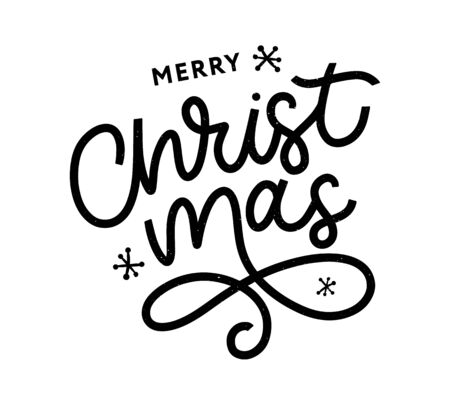 Merry Christmas gold glittering lettering design. Vector illustration Illustration