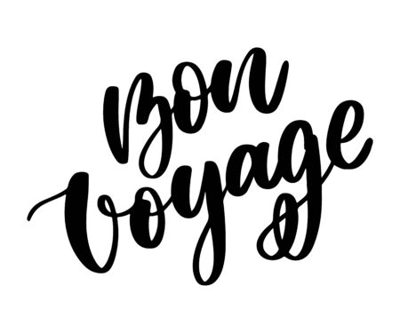 Hand drawn vector lettering. Bon voyage word by hands. Isolated vector illustration. Handwritten modern calligraphy. Inscription Vektorové ilustrace