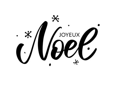 Merry Christmas card template with greetings in french language. Joyeux noel. Vector illustration Imagens - 133335086