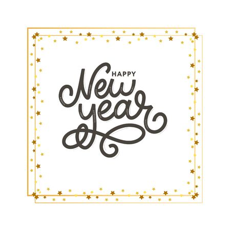 Happy New 2016 Year. Holiday Vector Illustration With Lettering Composition with burst 2020 Ilustração