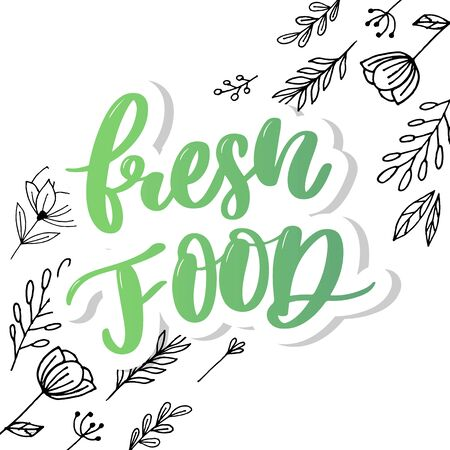 Fresh food lettering calligraphy Rubber Stamp