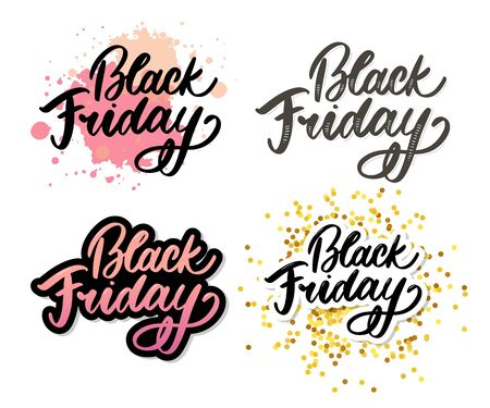 Black Friday Calligraphic Advertising Poster design vector template. Total Sale Discount Banner retro vintage style