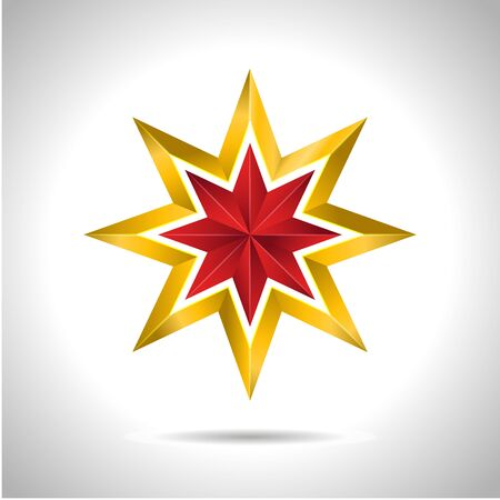 Gold red star vector illustration 3D art symbol icon