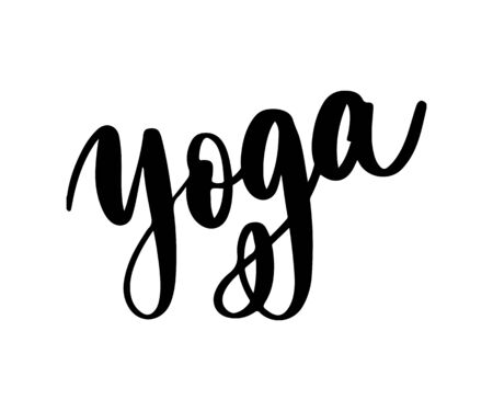 Yoga studio concept logo design. Elegant hand lettering for your design. Can be printed on greeting cards, paper and textile designs, etc Ilustração