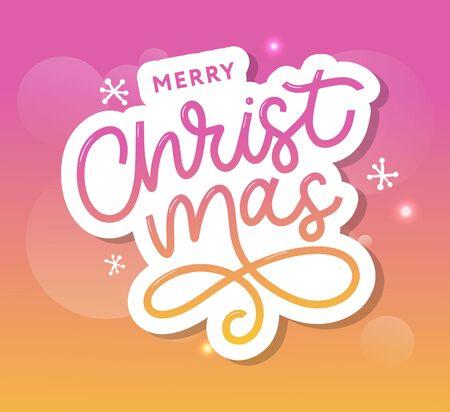 Merry Christmas gold glittering lettering design. Vector illustration Imagens - 133235241