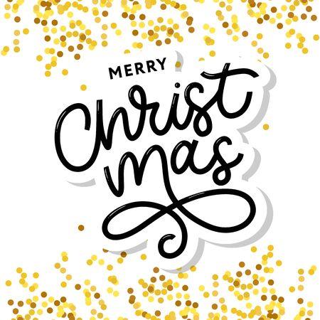 Merry Christmas gold glittering lettering design. Vector illustration Imagens - 133347319