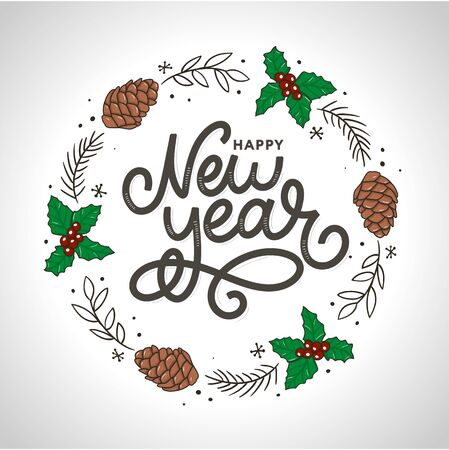 Happy New 2016 Year. Holiday Vector Illustration With Lettering Composition with burst 2020 Imagens - 133492221