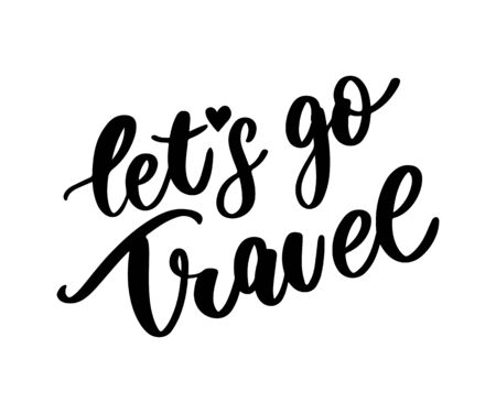 Travel set icons. Handwritten lettering vector illustration