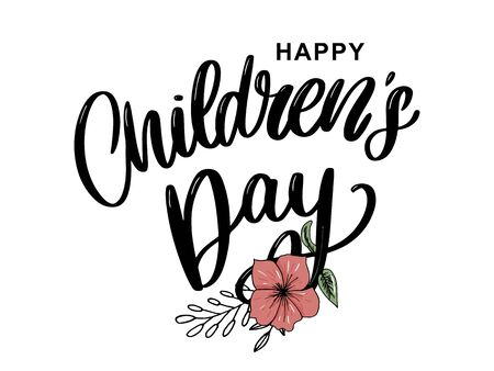 Childrens day vector background. Happy Childrens Day title. Happy Childrens Day inscription