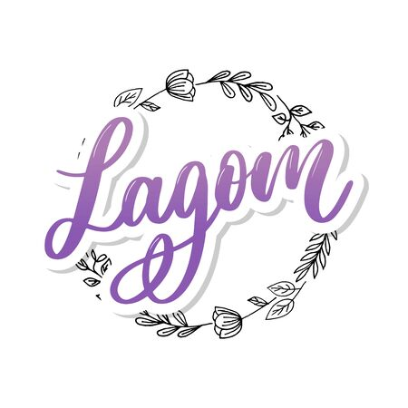 Lagom meaning inspirational handwritten text. Simple scandinavian lifestyle Ilustração
