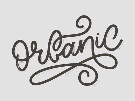 Organic slogan brush lettering. Hand drawn word organic with green leaves. Label, logo template for organic products, healthy food markets. Ilustração