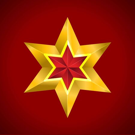 Gold red star vector illustration 3D art symbol christmas Ilustração