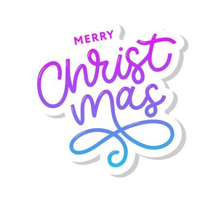 Merry Christmas gold glittering lettering design. Vector illustration Imagens - 133492259
