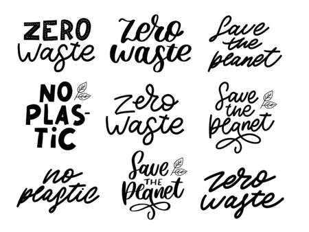 Hand Drawn Calligraphic Organic Icons Set Zero waste, Vegan, Save the planet, no plastic