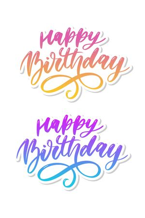 Happy Birthday lettering calligraphy brush gradient sticker