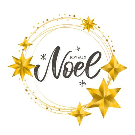 Merry Christmas card template with greetings in french language. Joyeux noel. Vector illustration