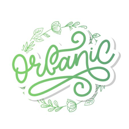 Organic brush lettering. Hand drawn word organic with green leaves. Label, logo template for organic products, healthy Foto de archivo - 134541746