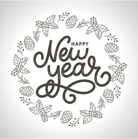 Happy New 2020 Year. Holiday Vector Illustration With Lettering Composition with burst 2020