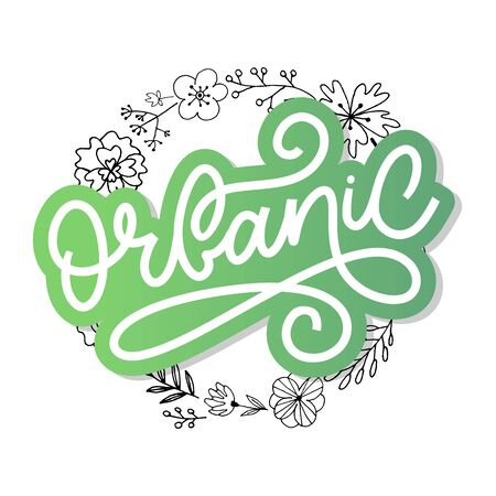 Organic brush lettering. Hand drawn word organic with green leaves. Label, logo template for organic products, healthy