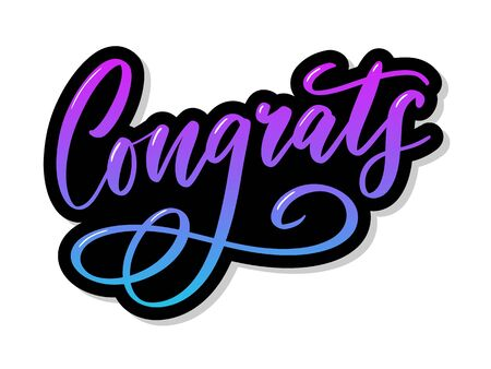 Congrats Congratulations card lettering calligraphy text Brush Ilustração