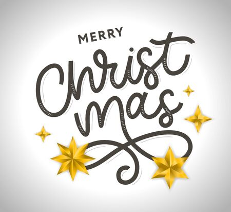Merry Christmas gold glittering lettering design. Vector illustration Ilustração