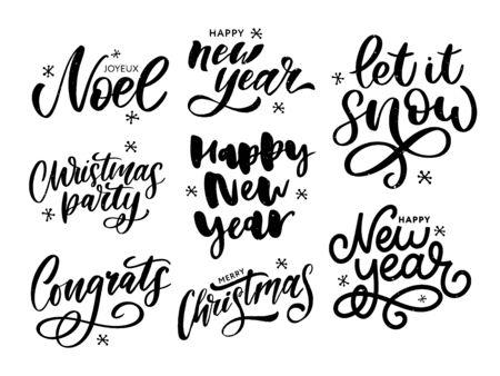 Weihnachten, Neujahr, Winterplakat. Weihnachtsgrußkonzept. Design-Vektor-Illustration drucken. Vektorkalligraphie