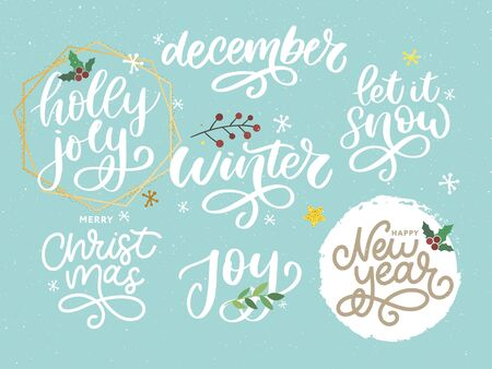 Christmas, new year, winter poster. Christmas greeting concept. Print design vector illustration. Vector calligraphy