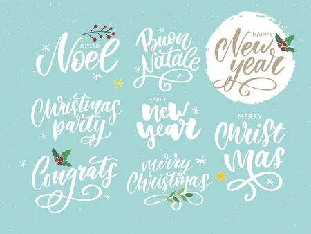 Christmas, new year, winter poster. Christmas greeting concept. Print design vector illustration. Vector calligraphy illustration. Slogan Set Ilustração