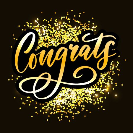 Congrats Congratulations card lettering calligraphy text Brush 向量圖像
