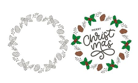 Merry Christmas gold glittering lettering design. Vector illustration 向量圖像