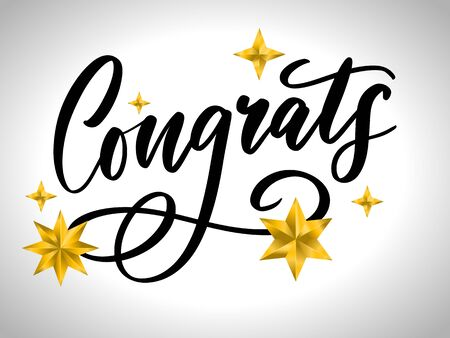Congrats Congratulations card lettering calligraphy text Brush eps10