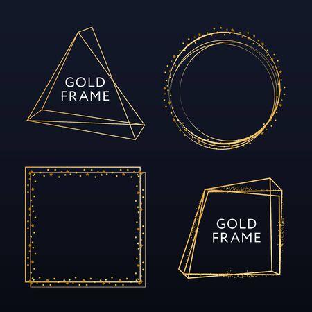 Vector golden frame. Shining rectangle banner. Isolated on black transparent background. Vector illustration