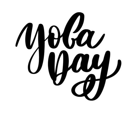 international yoga day, handwritten text, calligraphy letter Illustration