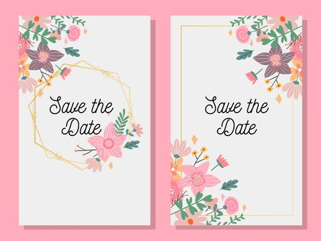 Marriage invitation card with custom sign and flower frame over wooden background. Vector illustration Foto de archivo - 137894232