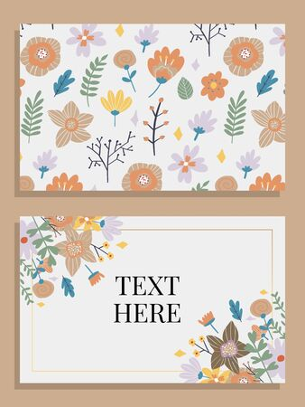 Marriage invitation card with custom sign and flower frame over wooden background. Vector illustration Foto de archivo - 137894033