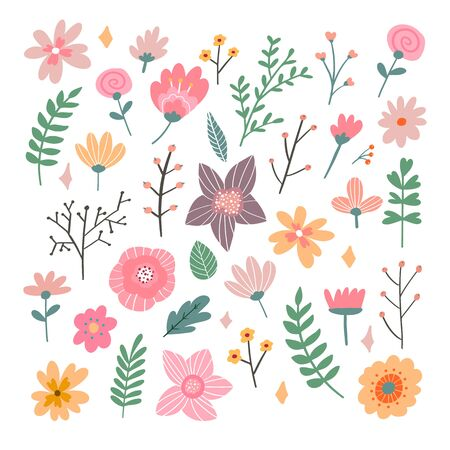 Floral bouquet of hand drawn fantasy folk flowers. Botanical illustration in flat cartoon style. Great as banner, print and card. Banco de Imagens - 137894105