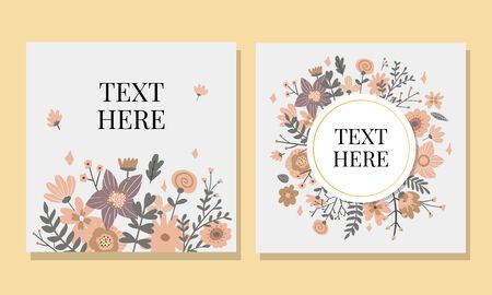Marriage invitation card with custom sign and flower frame over wooden background. Vector illustration Ilustrace