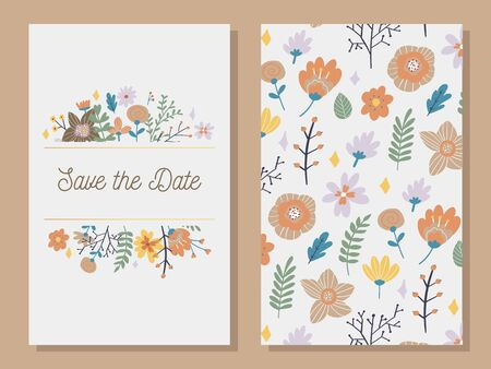Marriage invitation card with custom sign and flower frame over wooden background. Vector illustration  イラスト・ベクター素材